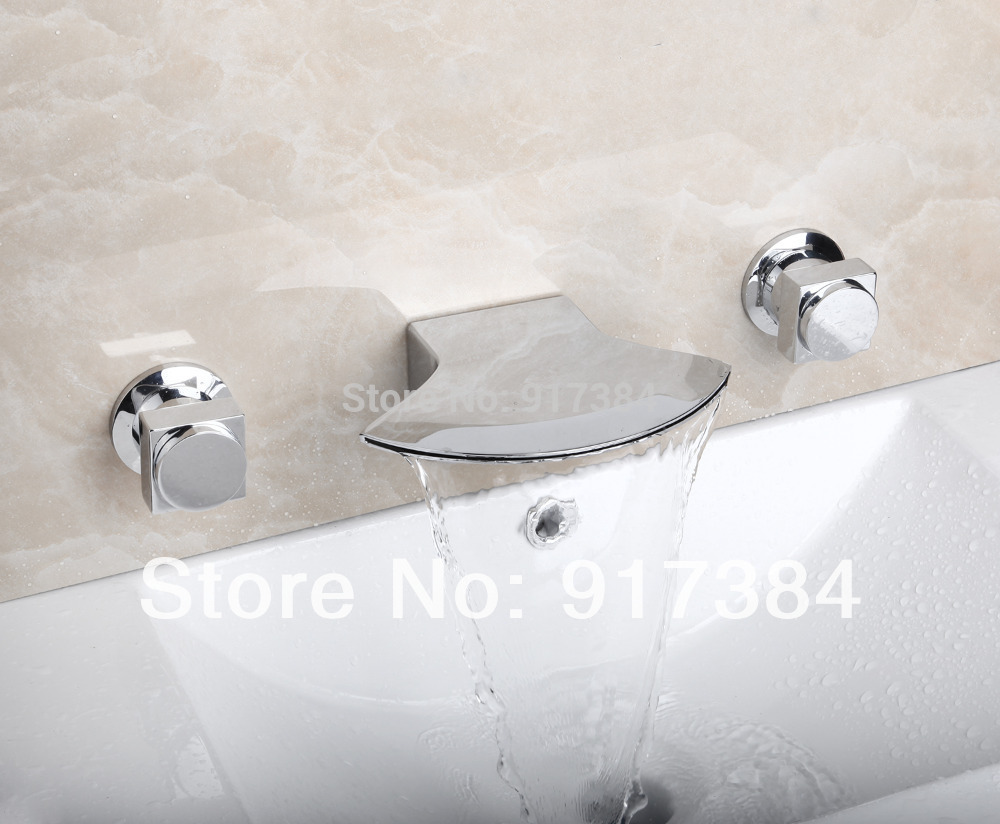 Deck Mounted  Waterfall  Ceramic  Double Handles Bathroom Bathtub Basin Sink Mixer Tap 3 pcs Chrome Faucet Set FG-3215 deck mounted 5pcs brass body bathroom bathtub sink mixer tap chrome finish faucet set ly 12dd1
