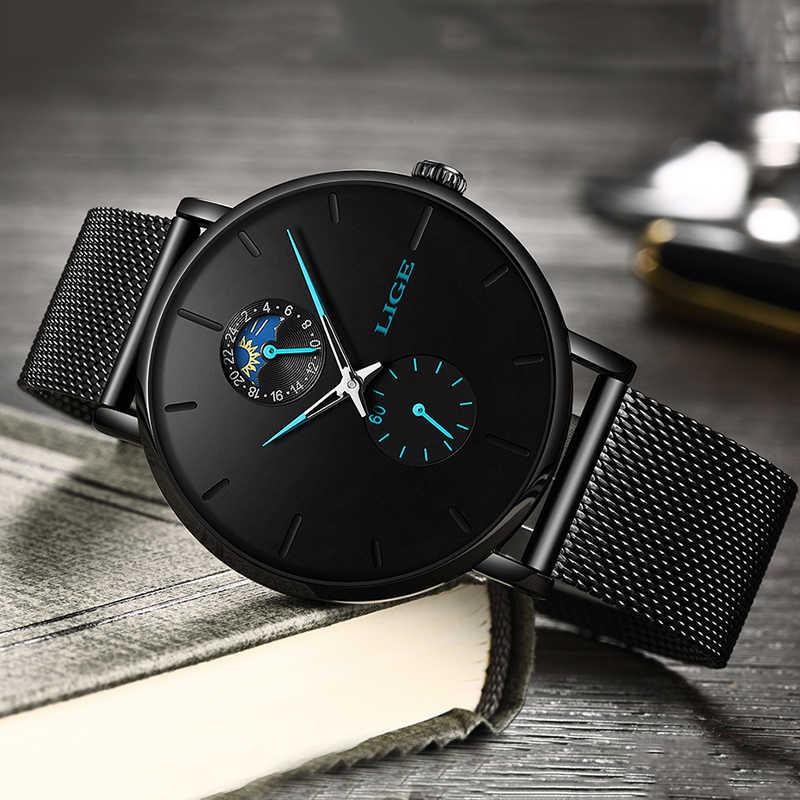 LIGE montre à Quartz hommes décontracté noir montre étanche acier inoxydable Ultra mince mâle horloge 24 heures montre 2019 Relogios Masculino