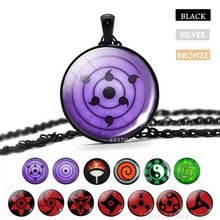Sharingan Eye Necklace Naruto Pendant Uchiha Kakashi Mangekyou Glass Cabochon Rinnegan Eyes Anime Jewelry Gift Dropshipper