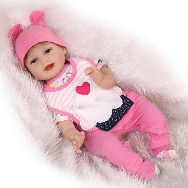 With Hair 22 Inch Smiling Reborn Girl Baby Doll Lifelike Realistic Princess Silicone Soft Babies Kids Birthday Christmas Gift can sit and lie 22 inch reborn baby doll realistic lifelike silicone newborn babies with pink dress kids birthday christmas gift