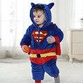 Halloween do bebê recém-nascido meninos superman supergirl traje do bebê com chapéu