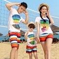 Пляж Семья Установить Одежду Радуга Хлопка Футболку + Quick Dry Шорты Семьи Clothing Наборы Пляж Семья Matching Outfit 3XL MH7