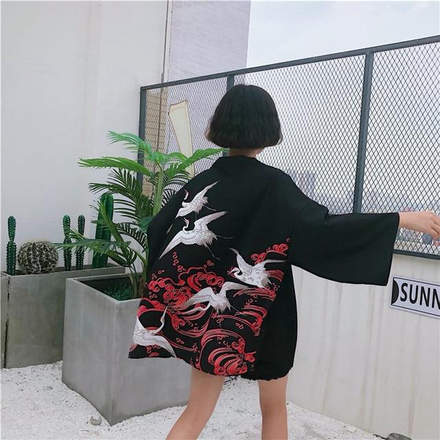 2018 New Korean Fashion Woman Kimono printed Crane kimono Chinese wind restoring ancient ways thin coat sun-protective clothing  2