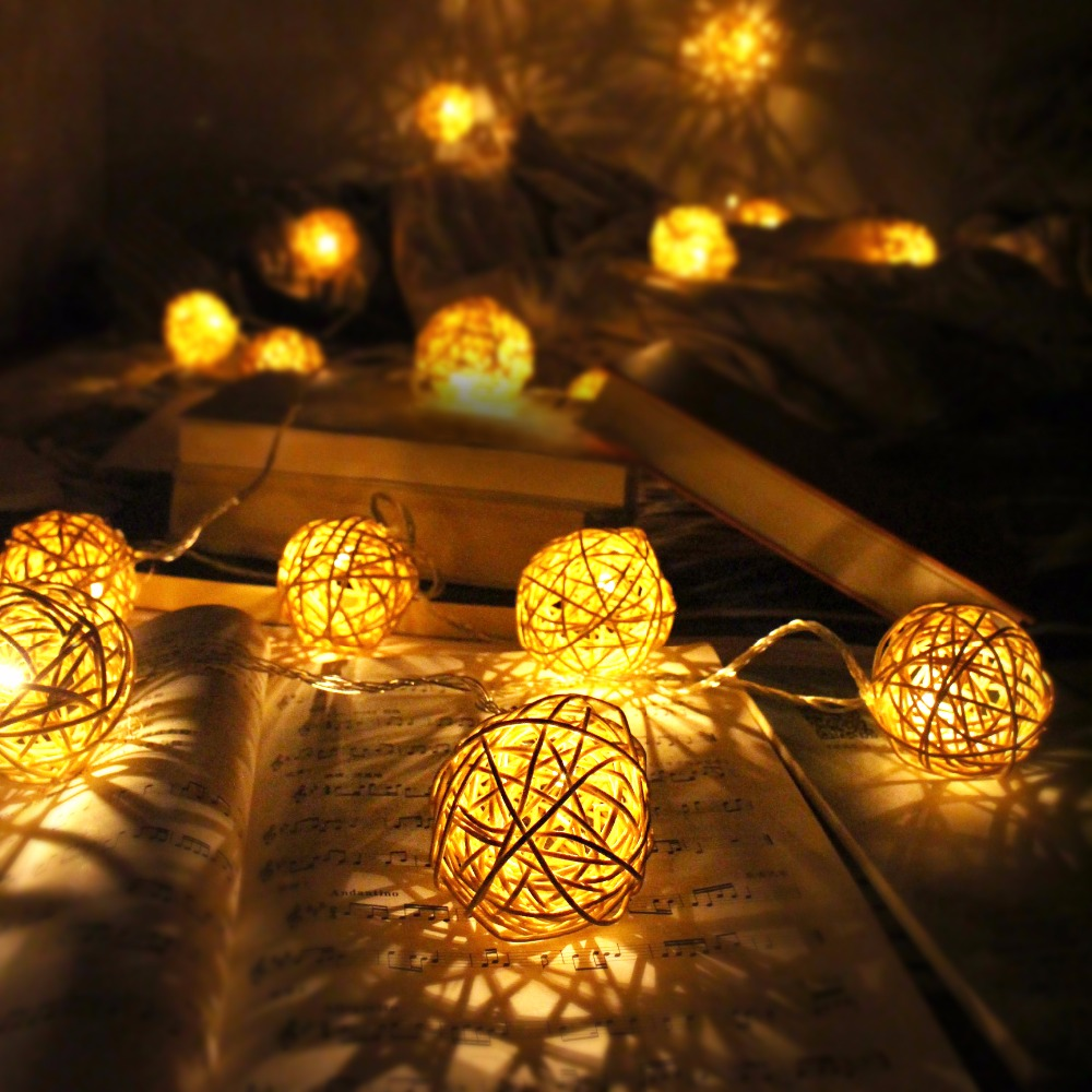 Indoor christmas decorations lights - Big Rattan Ball 6cm Led String Christmas Light Chain Outdoor Indoor 5m 20 Wedding Home Decor