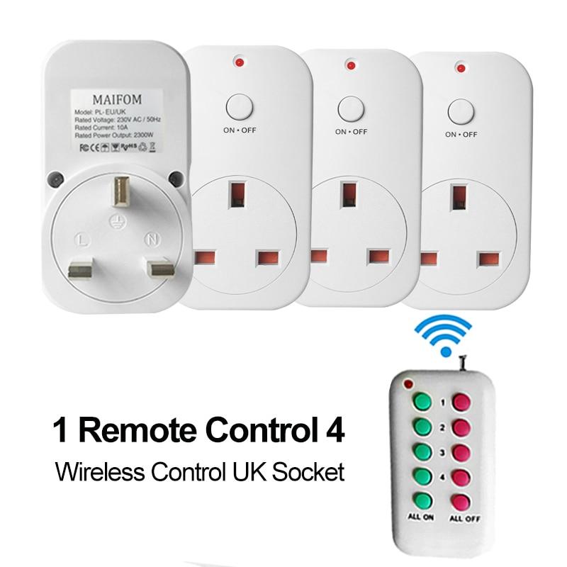 uk plug rf wireless remote control socket power outlet. Black Bedroom Furniture Sets. Home Design Ideas