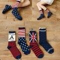 Calcetines de las mujeres al por mayor 2014 nueva moda de invierno informal de algodón bandera salvaje en calcetines Envío Libre