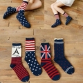 Wholesale women's socks 2014 new winter fashion casual cotton wild flag socks in tube socks Free Shipping