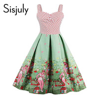 Sisjuly Vintage Dresses Floral Print 1950s Style Patchwork Backless Cute Summer Party Women Dress 2017 New