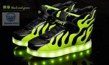 Новинка 2017 обувь со светодиодной подсветкой детские крылья свет обувь USB перезаряжаемые красочные светящиеся Ботинки и туфли