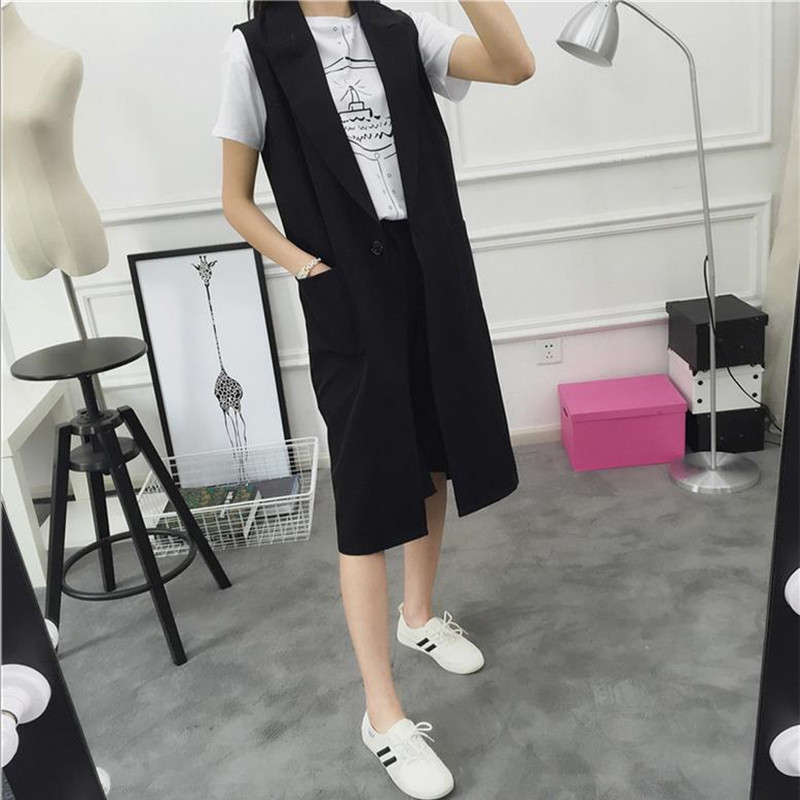 New Women Spring Solid color Female V-Collar Suit Long Cardigan Blazer Vest Waistcoat Sleeveless Jacket Coat