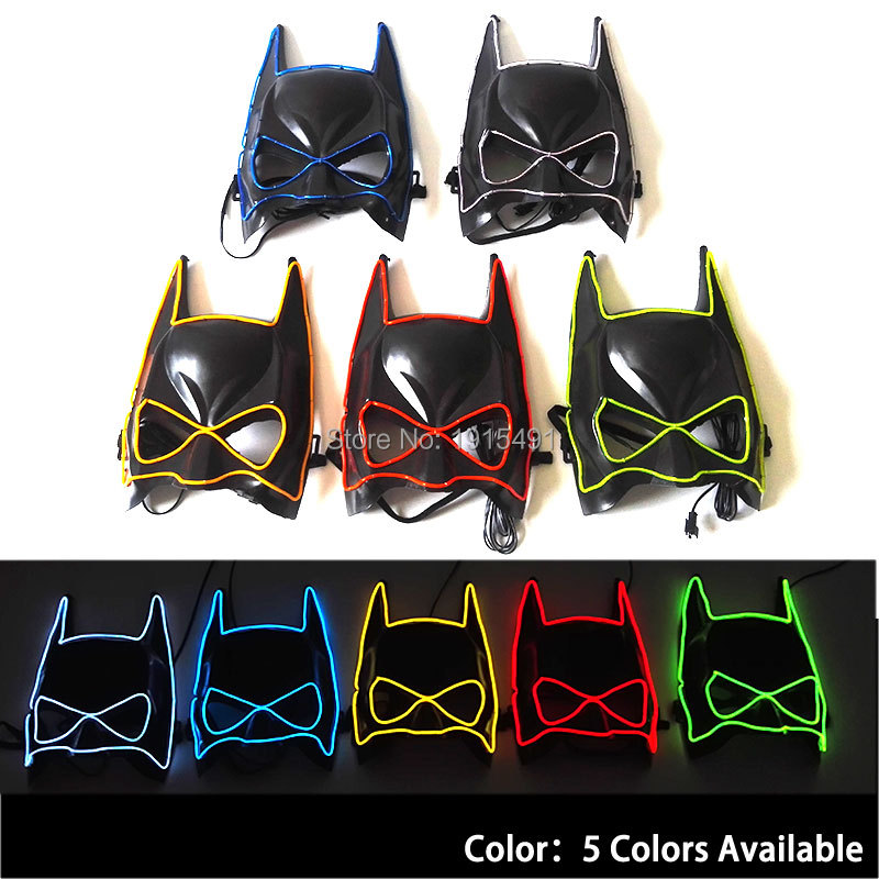 Hot Sales Wholesales 5pcs/lot Blink Batman Half Face EL wire Party Mask Novelty Lighting Shine LED Neon Cosplay Super Hero Mask
