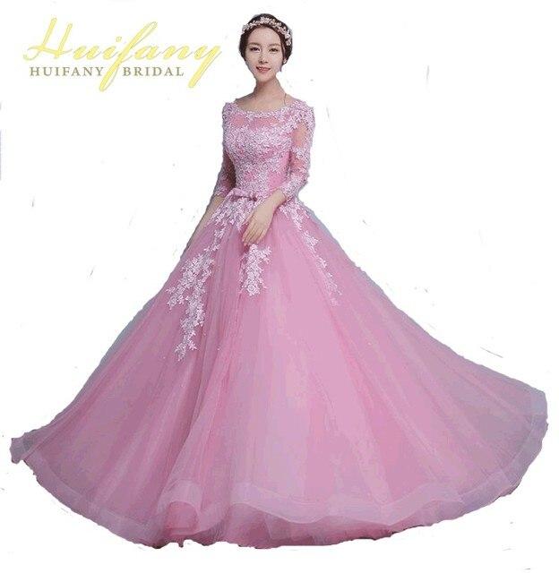 Elegant Appliques Beading Long Sleeve Prom Dresses Tulle Lace Long ...