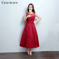 CEEWHY Burgundy Sleeveless A-Line Wedding Party Dress Lace Formal Gowns Tea-Length Cocktail Dress Homecoming Graduation Dresses