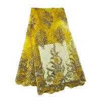 2017 5 Metrów/Dużo Chiny Szwajcarski Gorąca Sprzedaży Wysokiej Jakości Kolorowe Złoty tulle Koronki Tkaniny Bezpłatna Wysyłka dla Pięknej Suknia ślubna