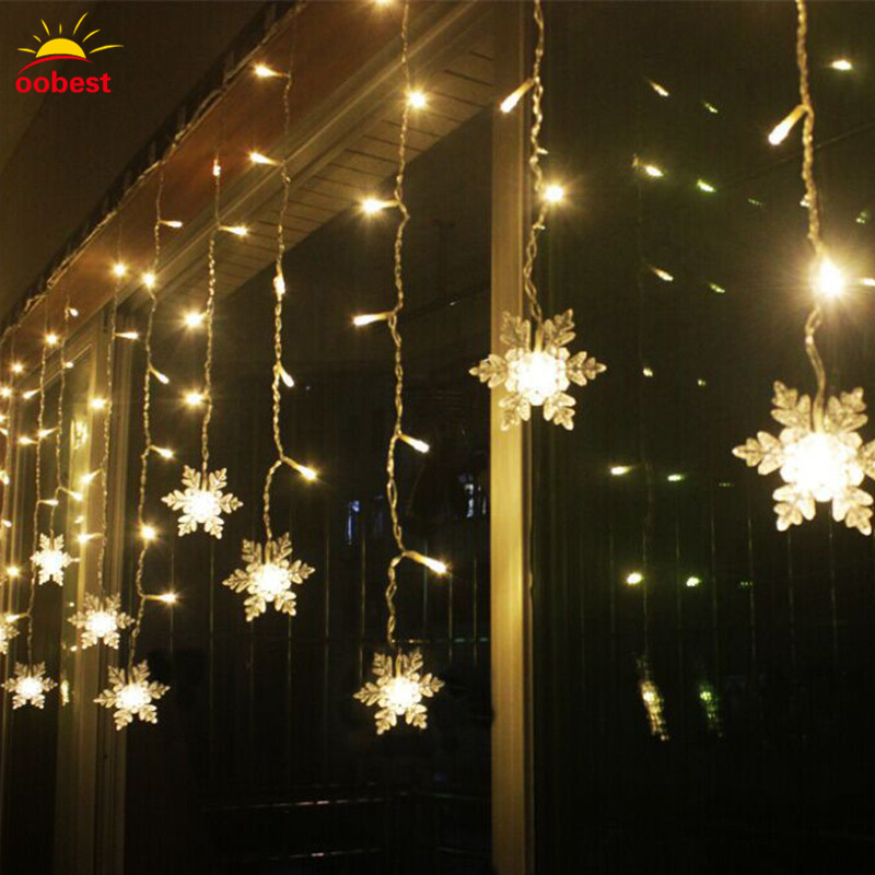 Oobest Chrismas 3.5M LED Fairy Strip Light Snowflake LED Lamp String Lights Holiday Wedding Party Night Light For Home Use ...
