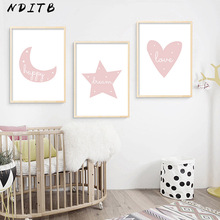 NDITB Baby Nursery Wall Art Canvas Posters Quotes Prints Cartoon Moon Star Minimalist Painting Nordic Kids Bedroom Decoration