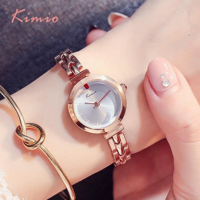 KIMIO punane kristallkell naiste lihtne roosa kuld käevõru kellad - Naiste käekellad