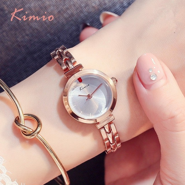 KIMIO Red Crystal Watch Women Simple Rose Gold Bracelet Watches Women Quartz Wom