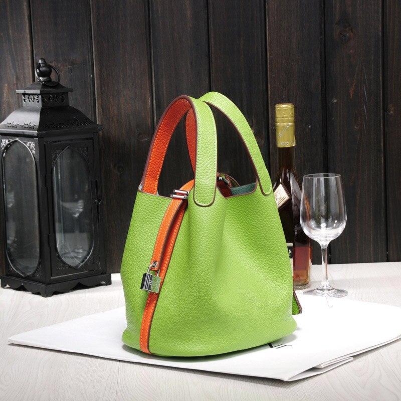 Women's Handbag Genuine Leather Togo Bucket Shoulder Bag Messenger Basket Bag