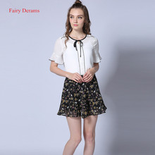 Fairy Dreams 2 Piece Set For Women White Shirt Top And Floral Skirt 2017 New Style Hot Sale Summer Suit Fashion Casual Clothes
