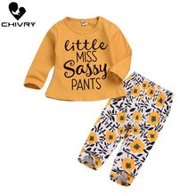 Chivry 2Pcs Newborn Baby Girls Letter Long Sleeve O-neck T-shirt Tops + Floral Pants Infant Clothing Set