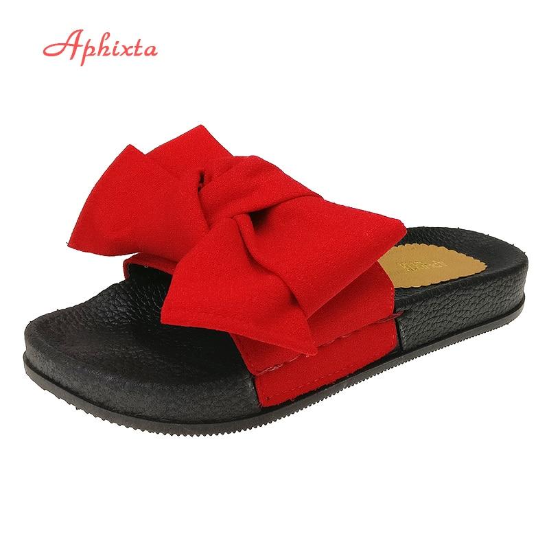 Aphixta Neue Schmetterling Dekoration Frauen Sommer Strand Rutsche Seidenstoffe Flache Fersen Slipper Frau Rihanna Böhmen Strand Schuhe