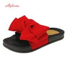 Aphixta New Butterfly Decoration Women Summer Beach Slide Silk Fabrics Flat Heels Slipper Woman Rihanna Bohemia Beach Shoes