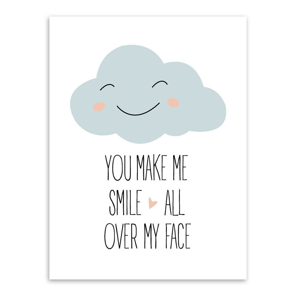 Quotes You Make Me Smile New Simple Modern Quotes You Make Me Smile Cloud Print Poster Wall