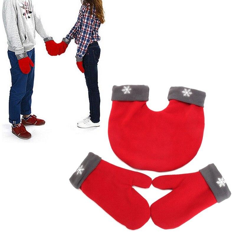 3pcs/set Romantic Christmas Couple Gloves Polar Fleece Lovers Winter Women Men Thicken Warm Sweethearts Mittens For Couple Gift