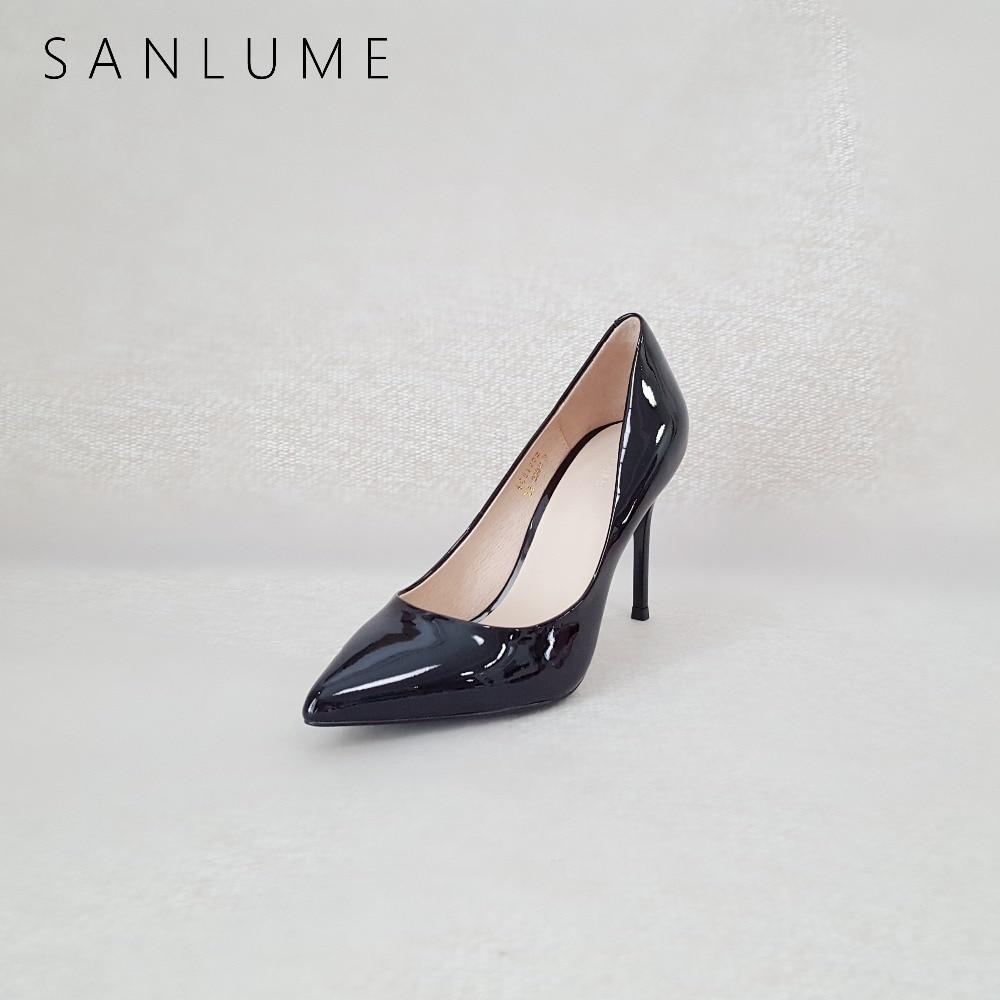 b34a4410275063 Leder Schuhe Sanlume Patent Nude Ferse Pumpt Spitz Damen Frau Sexy Aus  Partei Cm Matte Frauen Cm Büro Heels Echtem Stiletto ...