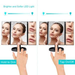 Image 2 - 22 luz LED pantalla táctil espejo de maquillaje 1X/2X/3X/10X lupa 3 plegable vanidad espejo compacto Flexible espejos cosméticos