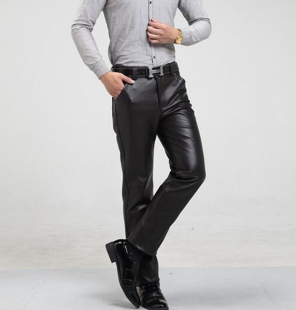 b7c837da06792 Male leather trousers mens autumn and winter plus size plus velvet  thickening loose high thermal motorcycle leather pants mens