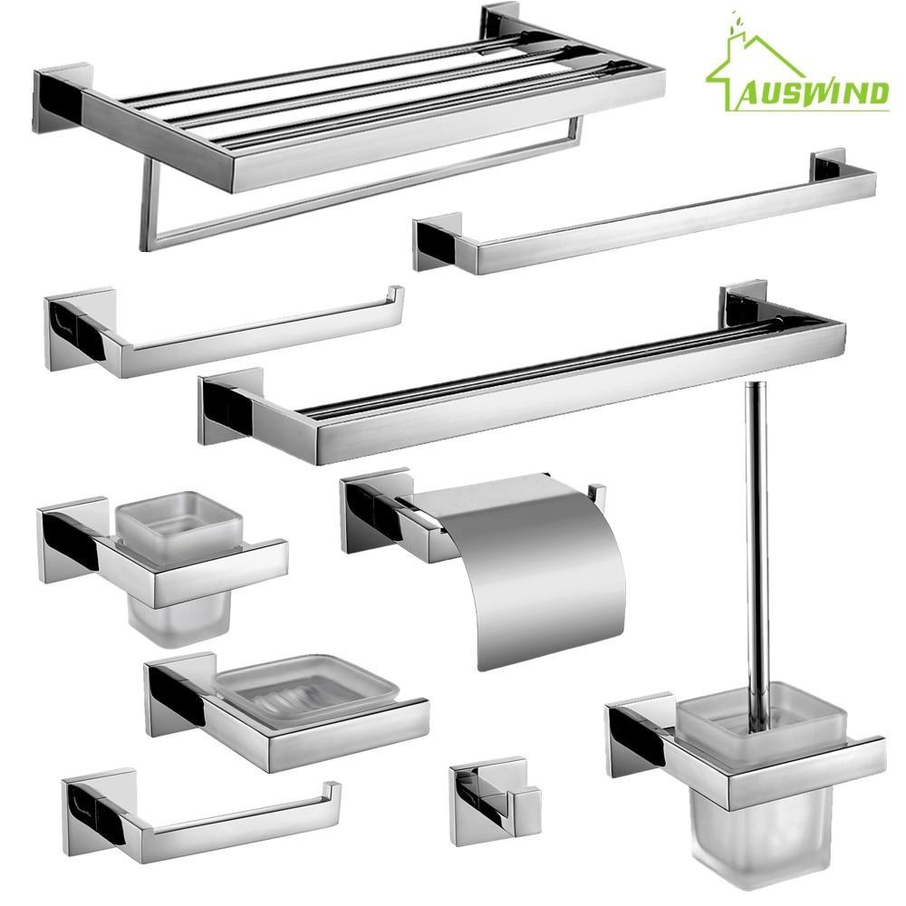 Modern bathroom hardware - Auswind Stainless Steel Square Base Bathroom Hardware Set Wall Mounted Bathroom Accessories Set Modern China
