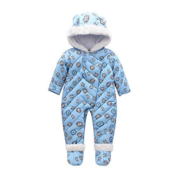 Детская Зимняя Одежда С Капюшоном Ребенка Ползунки Теплые Ребенка Комбинезон