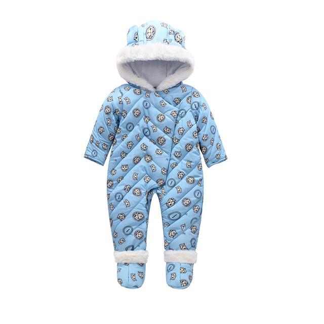 Ropa del Invierno del bebé Con Capucha Mameluco Del Bebé Mono Bebé Caliente