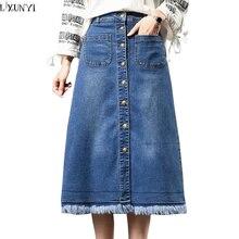 LXUNYI 7XL 8XL borlas Mujer Denim Falda 2019 Plus tamaño Delgado Vintage  alta cintura faldas para mujer Casual largo faldas cort. 764622adf15b