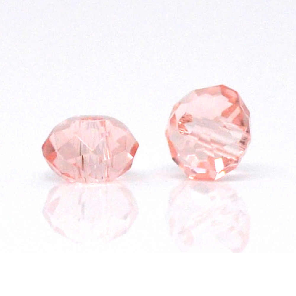 """DoreenBeads Glass Loose Beads Flat Round Light salmon Faceted Transparent About 4mm( 1/8"""") Dia, Hole: Approx 0.8mm, 20 Pieces"""