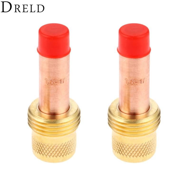"DRELD 2pcs TIG Collets Body Gas Lens 45V25 1.6mm 1/16"" for TIG Welding Torch Consumables SR PTA DB WP 17 18 26 Series 2PK"