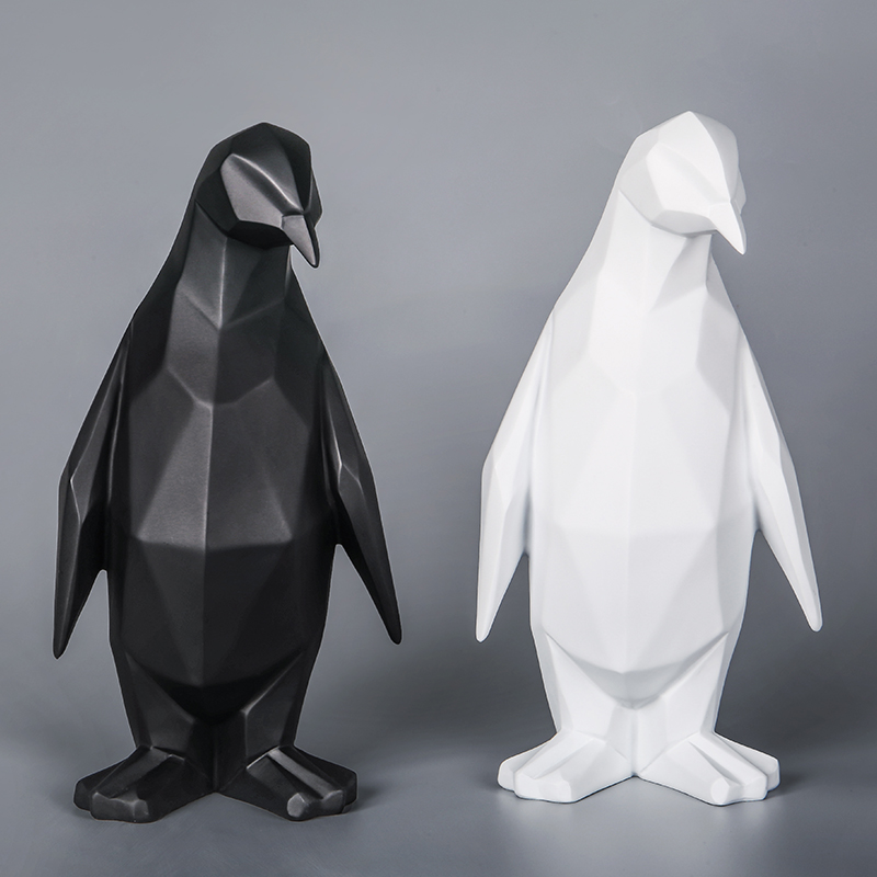 Nordic Penguin Resin Model Ornaments Crafts Simple Home Office Creative Sculpture Geometric Statue Animal Penguin Abstract Decor