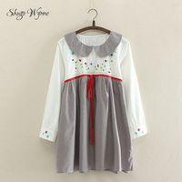 Mori Girl Dress Autumn New Women Cute Girl Style Peter Pan Collar Plaid Floral Embroidery Splice