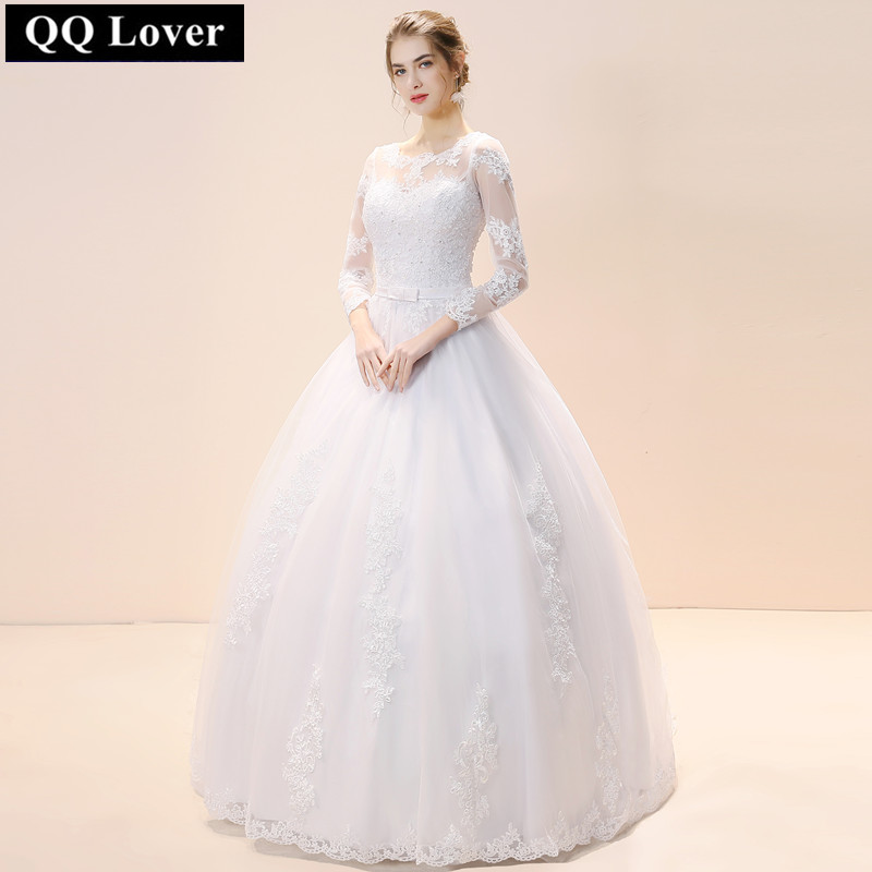 QQ Lover 2018 A-Line Full Sleeves Appliques See Through Lace Wedding Dresses Wedding Gown Bridal Dresses