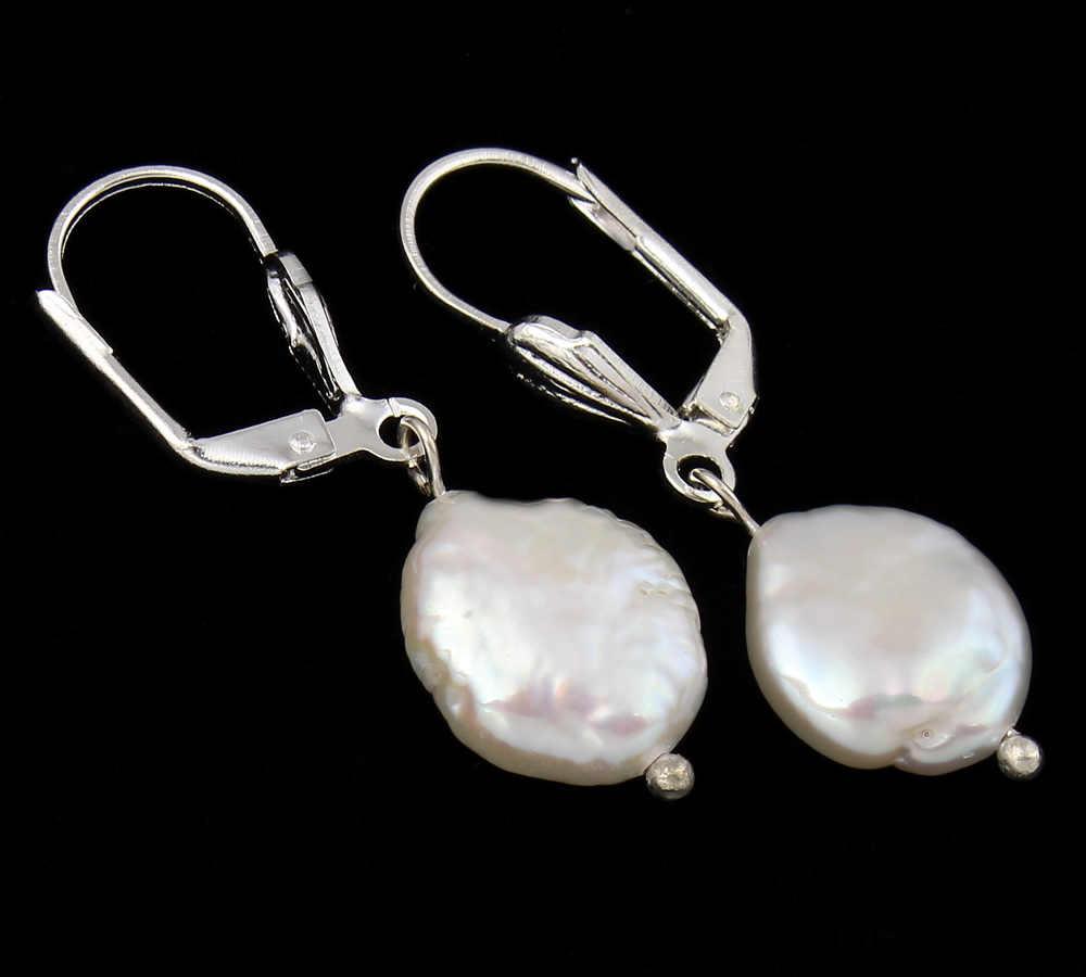 Handgemachte Natürliche Echt Süßwasser-zuchtperlen Hebel Zurück Ohrring 11-12mm Weiß Keishi Perle Perlen Charme Baumeln Ohrringe hochzeit