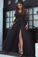 Holievery Long Sleeves Evening Dresses 2019 Split Long Prom Gowns with Lace Appliques Black Formal Dress suknia wieczorowa