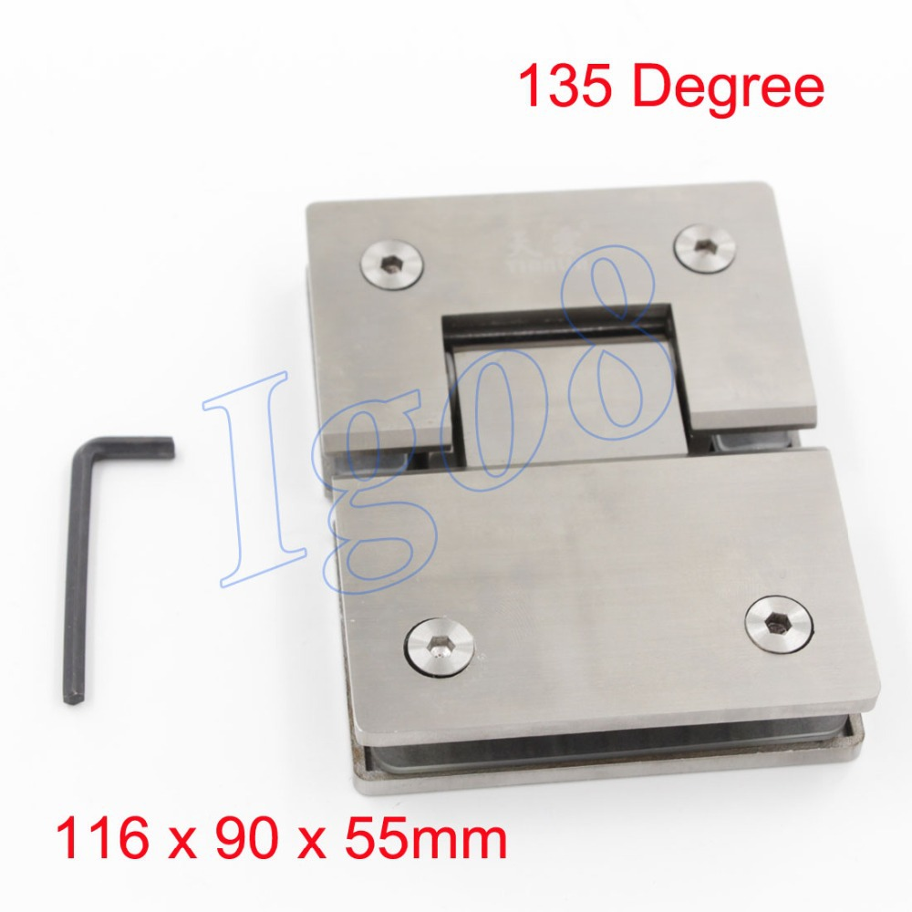 ФОТО High Quality SUS304 Stainless Steel 135 Degree Bathroom Door Hinge Glass Connector