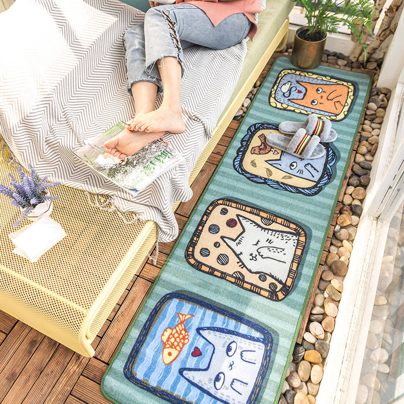 Cute Cartoon Kitty Runner Rug For Bedroom Decoration