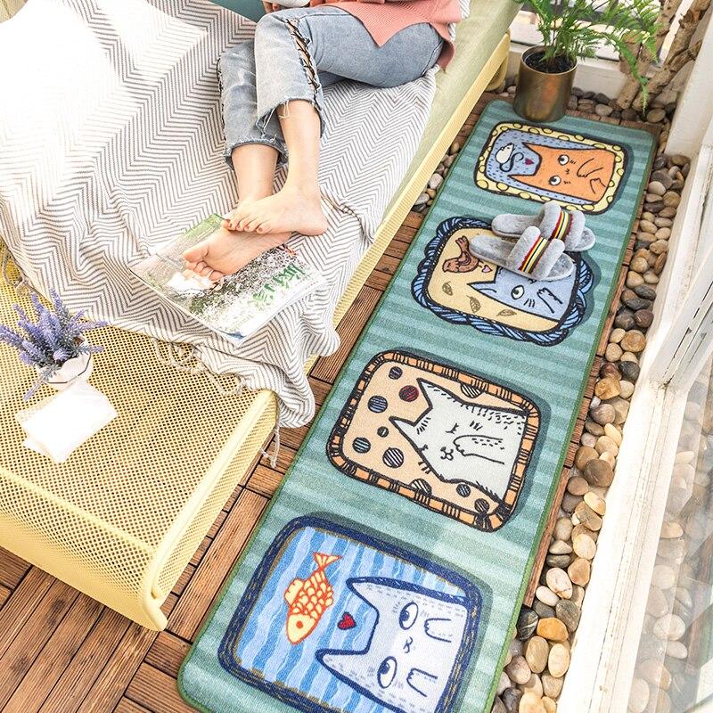 Tapis mignon de coureur de kitty de bande dessinée pour la chambre à coucher, tapis de décoration pour la chambre des enfants, tapis de pied de longues tailles pour la cuisine
