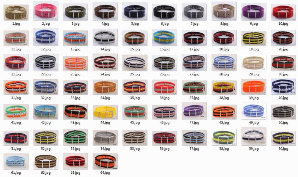 Prix pour Nouveau arrivé! 64 couleurs disponibles-Haute qualité 18 MM Nylon bande de Montre bretelles étanche bracelet 10 PCS/Lot