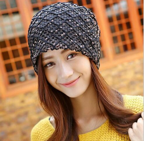knitted winter autumn female hat,plaid lace beanie cap,woman Chunky Baggy cap Skull,gorros de lana mujer, femme beanies cap winter women beanie curl all match crochet knitted hiphop hats warm ski hat baggy cap femme en laine homme gorros de lana 62