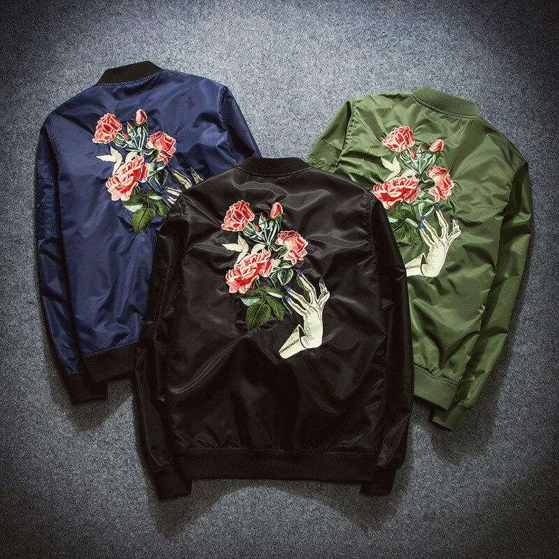 Femmes fleur broderie Couples Bomber veste fermeture éclair manches longues Outwear décontracté Loost Fit poches vestes pour dames filles tissu