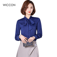 2017 Korean Women Elegant Bow Tie 4 Colors Blouses Chiffon Casual Shirt Office Ladies Tops School